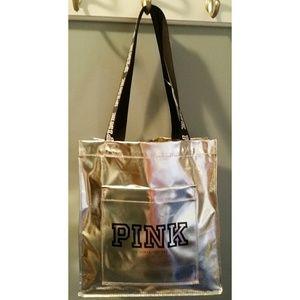 Pink  Victoria's Secret Tote. Silver NWT